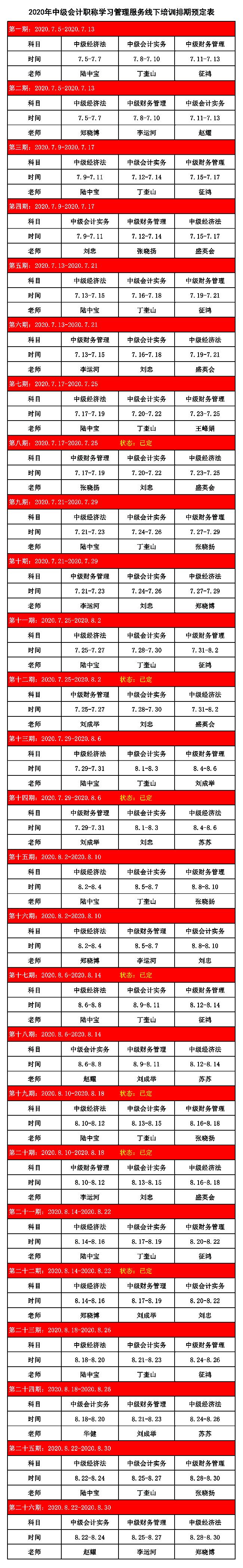 2020年中级班排期